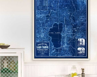 "Lake Tahoe map 1874, Vintage map of Lake Tahoe, CA in 4 sizes up to 36x45"" Large map of Lake Tahoe, also in blue - Limited Edition of 100"