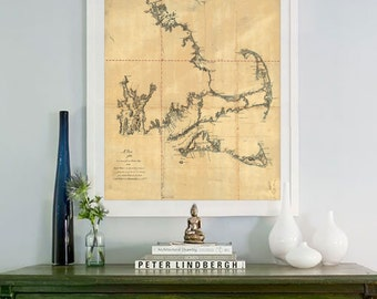 """Boston Bay map 1775, Vintage map of Boston Bay, Cape Cod, Nantucket, Poster in 4 sizes up to 36x45"""" also in blue - Limited Edition of 100"""