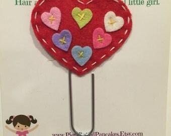 Felt heart paperclip bookmark. Jumbo bookmark