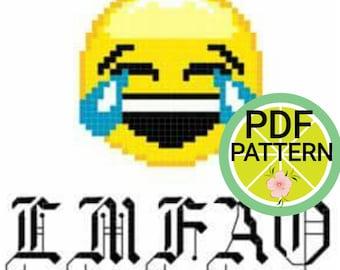 LMFAO Emoji Cross Stitch Pattern