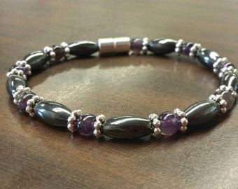 Magnetic Therapy Bracelet, Gemstone and Magnetic Hematite Bracelet, Men's or Women's Magnetic Jewelry with Magnetic Clasp. Customize