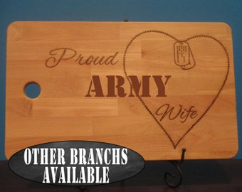 Proud Army wife, Army Mom, Army Girlfriend, dog tag chain heart personalized cutting board, patriotic, veteran gift, military wife gift
