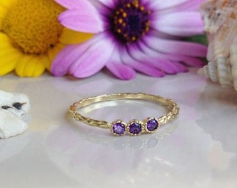 20% off-SALE!! Amethyst Ring - Purple Ring - Gold Band - February Birthstone Jewelry - Gemstone Ring - Tiny Ring - Simple Ring - Stack Ring