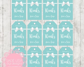 Custom Printable Tiffany Mint Blue White Bow Baby Bridal Shower Birthday Celebration Thank You Favor Tags