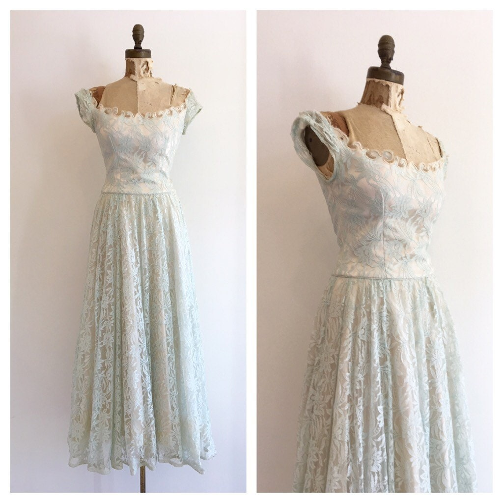 Vintage Bridal 1950 s Ivory satin and blue lace by