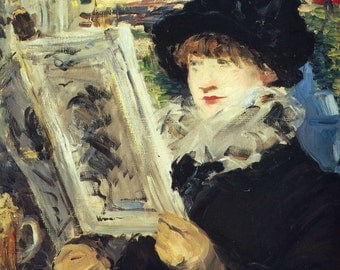 Woman Reading by Edouard Manet, in various sizes, Canvas Print
