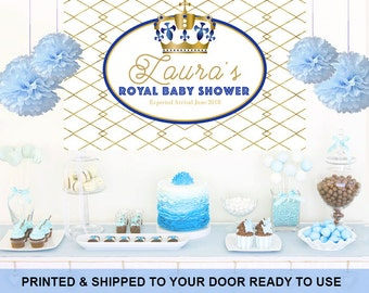 Royal Baby Shower Personalized Photo Backdrop - Baby Shower Cake Table Backdrop - Little Prince First Birthday Photo Booth Backdrop