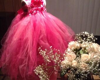 Flower Girl  Tutu Dress, Hot Pink, Party Dress, Wedding Dress, Birthday Dress, Flowergirl Dress.