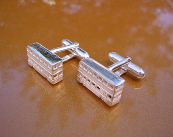 Sterling Silver London Double Decker Bus Cufflinks In Presentation Box