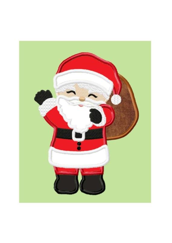 Santa claus applique machine embroidery design no