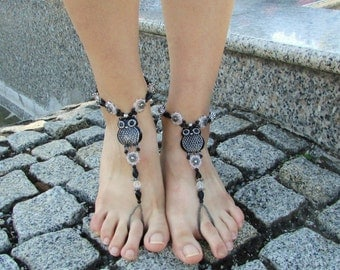 Exclusive festive black and silver owl barefoot sandals, Barefoot jewelry, Festive anklets, Festive barefoot jewelry