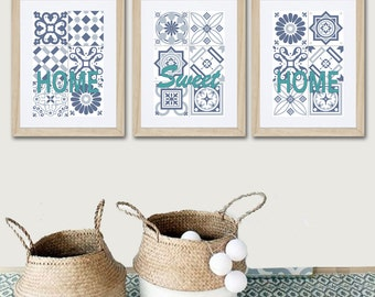 3 posters with ciment geometrically pattern and words in green