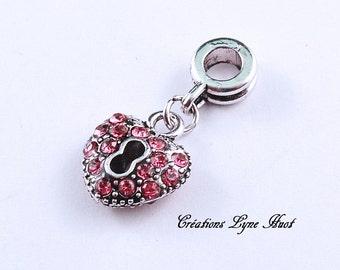 Charms Heart  shape set with Rhinestone, Pink color ! European Bead