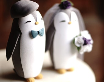 GREY PENGUIN Wedding Cake Topper - Warranty Protection Included