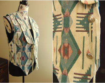 Vintage Native American Vest, Buffalo Nickel Conchos, Woven Pattern, Teal, Womens Medium