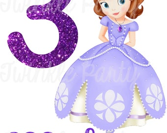 Personalized Sofia the First Digital Image for T shirt, Printable Iron On Transfer, Sticker custom Birthday Shirt image