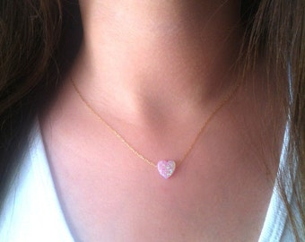 Pink heart Opal Necklace, Pink Opal Necklace, Bridesmaid Necklace, Opal Jewelry, Delicate necklace Gift for Her, Girlfriend, Teen Necklace
