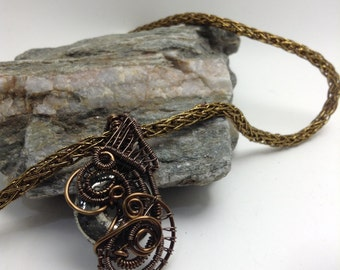 Wire wrapped hematite pendant necklace