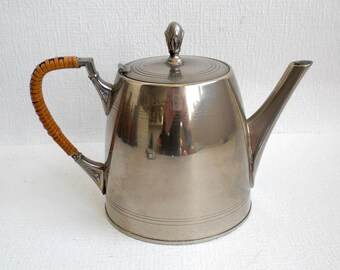 Vintage Art Deco Nickel Small Teapot. Wicker Handle. 1940's
