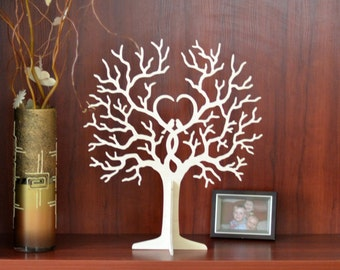wedding guest book, wishing tree, wedding wish tags, wishes wooden tree with 50 tags, wish tree
