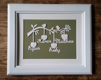 Personalised Family Tree Paper Cut  (framed)
