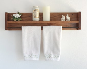 Wood Towel Rack,Oak Towel Rack,Bathroom Shelf,Towel Rack & Shelf,Towel Shelf