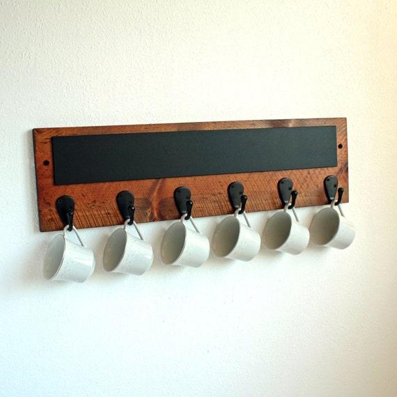Rustic coffee mug rack with chalkboard mug rack holder for Coffee mug display rack
