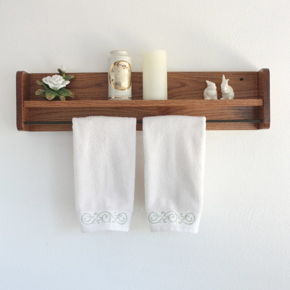Wood towel rack with shelf towel bar solid oak wooden for A bathroom item that starts with e