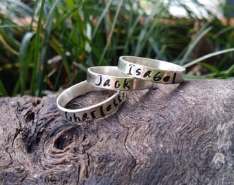 Name ring, custom ring, personalized gift, silver custom ring,hand stamped ring, stacking ring, initial ring gift for her, made in Australia