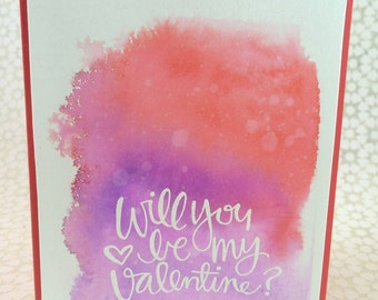 Valentine / Notecard / Folded Notecard / Handstamped / Watercolor