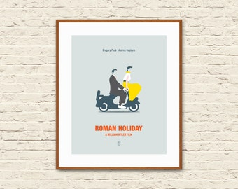 ROMAN HOLIDAY - Minimalist Poster, Roman Holiday Poster, Audrey Hepburn Poster, Vespa Poster, Gift for Her, Alternative Poster