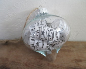 Sheet music glass ornament with book pages..anniversary..musician..baby shower...Christmas...Graduation..teacher gift..birthday..Valentine's