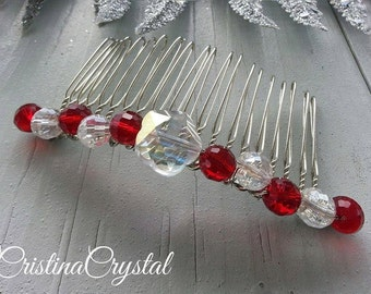 Haircomb.Haircomb with red glass crystals.Hairpin.Hair jewelry. Hair Accessories .Fascinator.Head piece.Christmas gift