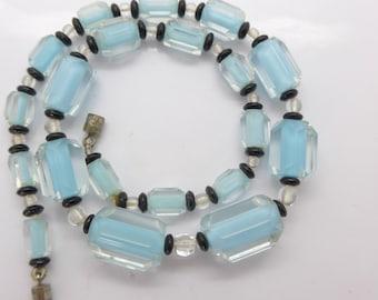 Vintage Bi Colour Czech Glass Bead Necklace - Pastel Turquoise Blue Glass Beads