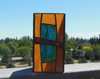 Stained Glass Candle Holder-Light Amber