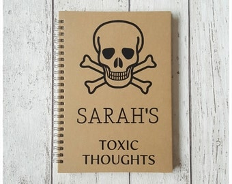 Personalised Gift, A5 Notebooks & Journals, Stationery, Toxic Thoughts Diary,