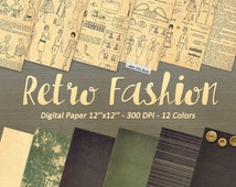 Fashion Vintage digital paper, Dress Sketches Illustrations, Scrapbooking pattern, fashion book illustration, high resolution