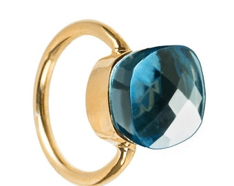 Ring with Hydro London Blue Topaz