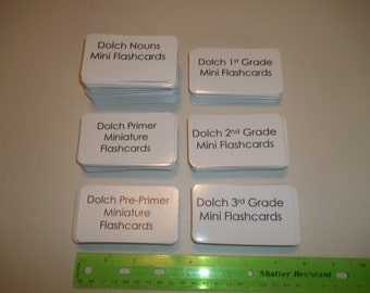 Entire Miniature Dolch Sight Word Set. 315 laminated cards. 3.5x2.0 PrePrimer-3rd Grade and Nouns