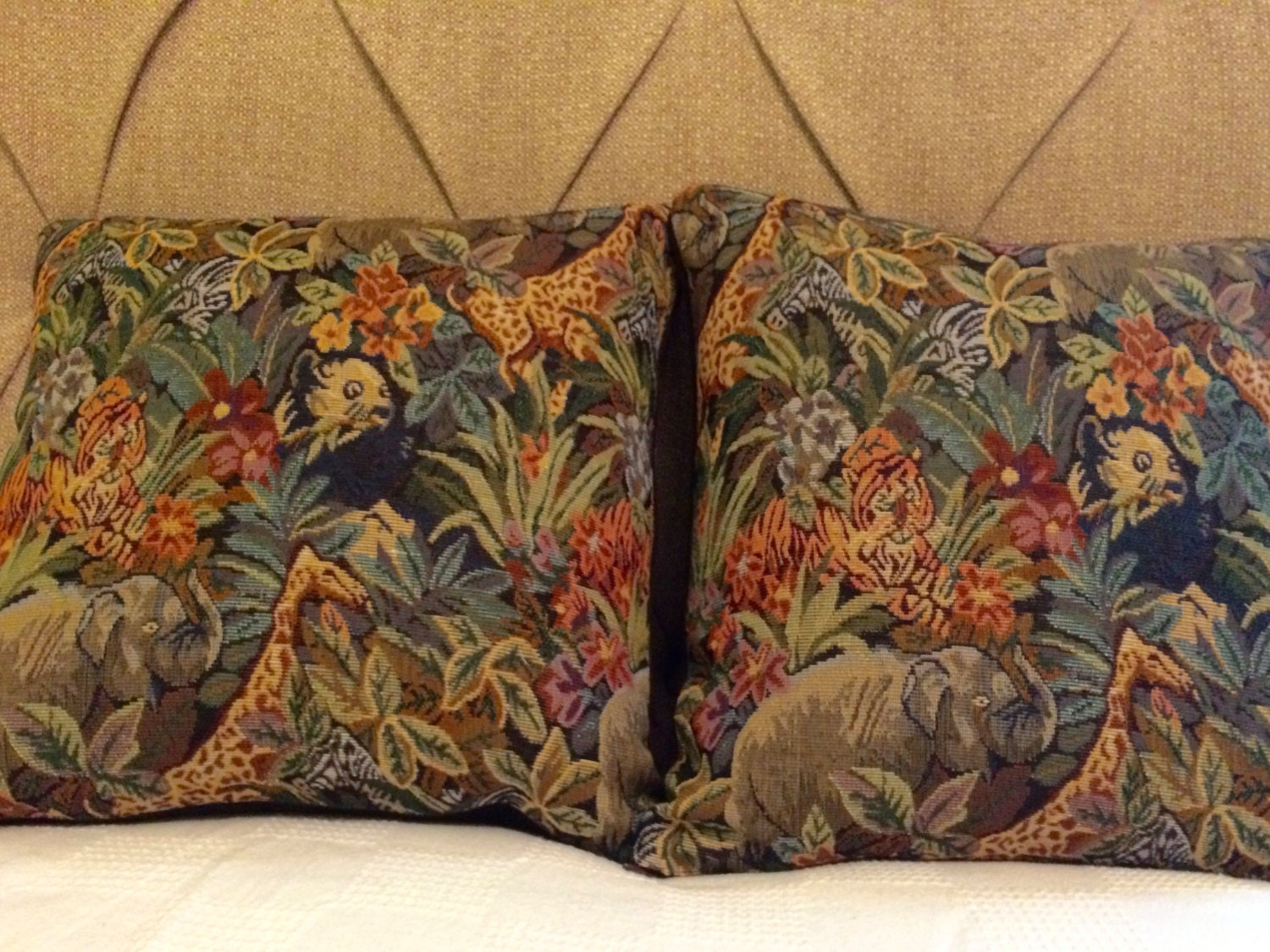 Zoo Animal Pillows : Zoo Animal Tapestry Fabric Pillows