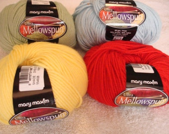 Mary Maxim® Ultra Mellowspun Yarn Pt 3, PLEASE check desciption for color quantities available