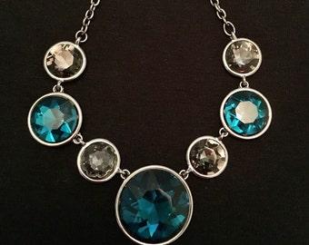 Bill Blass Blue & Gray Crystal Necklace