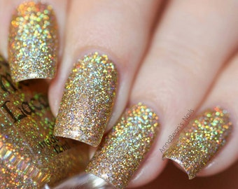 Flashy Sparklies - Golden glittery ultra holo indie nail polish (11mll)