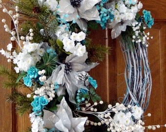 Blue Silver Christmas Wreath, Winter Wreath, Large Oval White Turquoise Silver Wreath, Silver Poinsettia for Winter