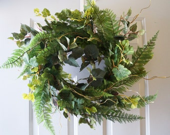 Green Spring Wreaths, Woodland Summer Wreaths, Fern Wreath for Year Round, Large Leaves Wreath ready to ship