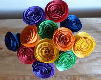 Paper Flower Posy - 12 Rainbow colours