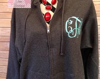 Monogram Zip Up Hoodie Preppy Glitter Monogram Hoodie Monogrammed Jacket Sweatshirt Zip Up Fleece Monogrammed Gifts