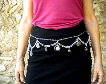 Silvered jewel belt smart style gone(taken) up on chain(channel), with bracelet charms, stylish(well-trained) and contemporary motives
