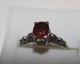 Red Topaz 6x4mxm set in sterling silver size 5