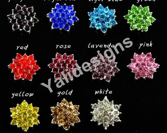 U Pick! 10pcs 17mm Rhinestone Button Handmade Sparkly Star Burst Rhinestone headband Accessories-No shank Button YTB72